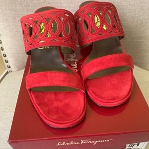Salvatore Ferragamo Red suede sandals